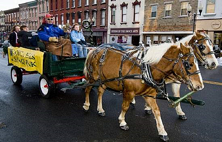 Horse-drawn carriage rides are offered in Seneca Falls, which is celebrating its resemblance to the fictional Bedford Falls in It's a Wonderful Life. (Provided by Hotel Clarence).